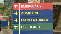 Tampa General Hospital Emergency Sign Stock Footage
