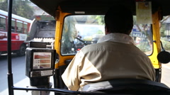 Local driver of ricksha during a ride in Mumbai, fast forwarded. Stock Footage