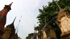 Cemetery contains the bones, Buddhism in Thailand - stock footage
