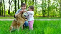 Portrait People Family Mother Mom Daughter Child Girl Dog Lifestyle Stock Footage