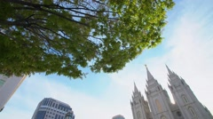 Salt Lake City Mormon temple tilt Stock Footage