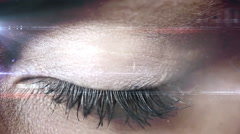Blinking eye with tech interface - stock footage