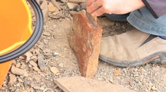 Paleontology Dig Fossil Excavation and Extraction - Graptolites Stock Footage