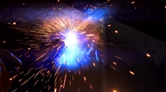 Sparks from welding steel work Stock Footage