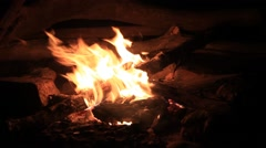 Camping Outdoor Campfire at Night Stock Footage