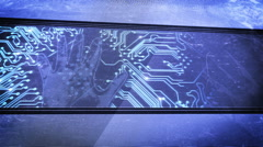 Hand print and circuit boards Stock Footage