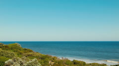 View Across A Plant Covered Dune To The Indian Ocean Stock Footage