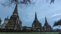 Rain at Wat Phra Si Sanphet - Ayutthaya Stock Footage