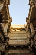Sunlight of Adalaj Stepwell in Ahmedabad - stock photo
