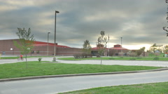 4k Wide HDR shot of school building with cloudy sky Stock Footage