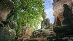 Buddha at Wat Mahathat Ayutthaya Stock Footage