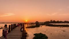 Ubein Bridge - Mandalay Stock Footage