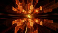 Orange Cubes in Rotation, Geometrical Horizon With Rays Of Light Stock Footage