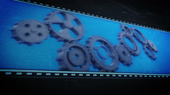Cogs and wheels in pixel design Stock Footage