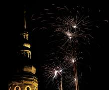 Greifswald Cathedral With Fireworks - stock photo