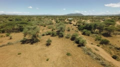 African rift valley savannah bush landscape in dry season on hot sunny windy day Stock Footage