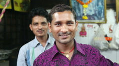 Portraits of smiling local Indian men. Stock Footage