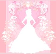 Abstract Beautiful floral bride Stock Illustration