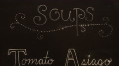 Soup of the day on a sign Stock Footage