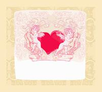 happy valentines day card with cupid - stock illustration