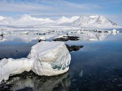 Arctic landscape - ice, sea, mountains, glaciers - Spitsbergen, Svalbard Stock Photos