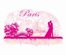 Romantic couple in Paris kissing near the Eiffel Tower Retro card Piirros