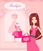 beautiful women Shopping - stock illustration