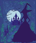 Grungy Halloween background with haunted house and witch Stock Illustration