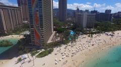 Aerial view of Waikiki beach on the island of Oahu, Hawaii Stock Footage