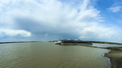 Motor ship on pier. Stock Footage