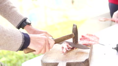 Female And Male's Hands Lamb Cuts for Easter Table Stock Footage