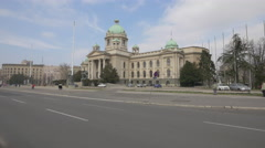 Serbian National Assembly building in Belgrade Stock Footage