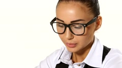 business woman  having stress in the office - stock footage