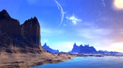 Fantasy alien planet. Rocks and  moon - stock footage