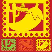 Mexican 'papel picado' (Paper flag decoration) set in vector format. Stock Illustration