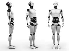 Male robot standing, three different angles. Stock Illustration