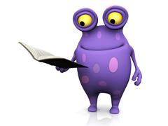 A spotted monster holding a book. - stock illustration