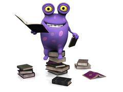 A spotted monster sitting on a pile of books. Stock Illustration