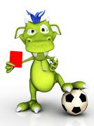 Cartoon monster as soccer referee. - stock illustration