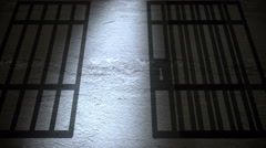 Jail cells shadows on the prison floor. Stock Footage