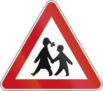 Watch Out For Children 1970 - stock illustration