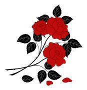 Flowers rose, silhouette Piirros