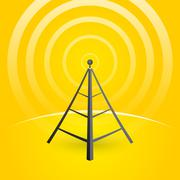 construction of a transmitter on a yellow background with waves - stock illustration