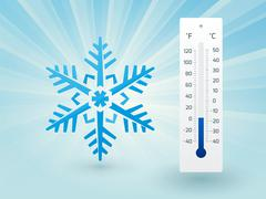 Snowflake with a thermometer on frost Stock Illustration