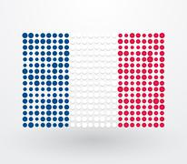 French flag made ??up of dots Stock Illustration