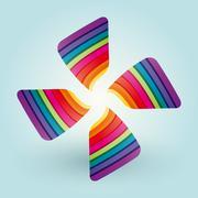 Color fan blades - stock illustration
