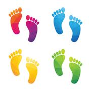 Colorful human footprints composed of a triangle isolated on a white backgrou Stock Illustration