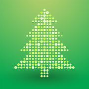 Christmas tree composed of polka dots - stock illustration