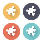 Colorful puzzle icons with long shadows Stock Illustration