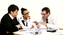 Business team emotionally discusses:businesswoman no idea do not like Stock Footage